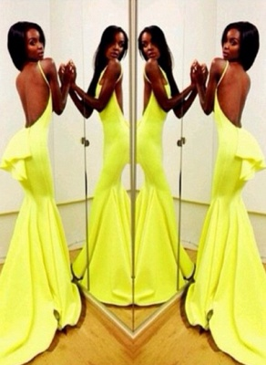 Sexy Backless Yellow Mermaid Prom Dresses 2020 Sleeveless Spaghetti Straps Evening Gowns BK0_3