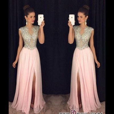 2020 A-line luxury Crystals Long Beaded Pink Front-Slit Prom Dresses AP0 BA4627_1