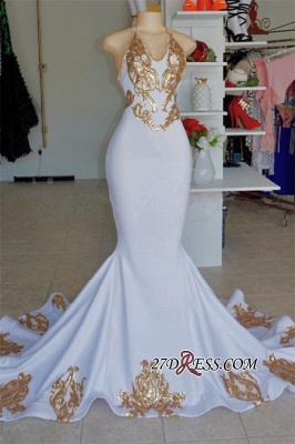 Sexy Halter Sleeveless Mermaid Prom Gown | New Arrival V-Neck Gold Appliques Evening Dress_3