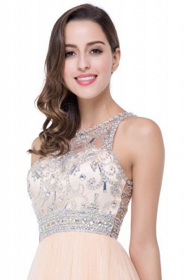 Elegant Beadings Crystal Short Prom Dress Chiffon Homecoming Gown_6