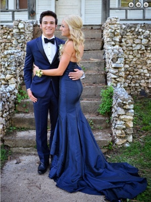 Gorgeous Sweetheart Navy Blue 2020 Evening Dresses Mermaid Sweep Train Prom Gowns_3