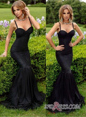 2020 Spaghetti-Straps Mermaid Lace Black Sweetheart Sexy Evening Dress BA4069_1