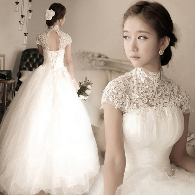 Elegant Tulle Lace Appliques 2020 Wedding Dress High Neck Ball Gown_4