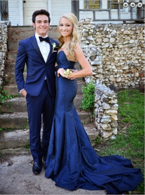 Gorgeous Sweetheart Navy Blue 2020 Evening Dresses Mermaid Sweep Train Prom Gowns_1
