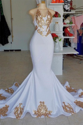 Sexy Halter Sleeveless Mermaid Prom Gown | New Arrival V-Neck Gold Appliques Evening Dress_4