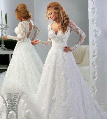 Arabic Long Sleeve Lace Appliques Bridal Gowns Sweetheart_2