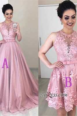 Jewel Alluring Prom Appliques Belted A-line Homecoming Dresses_1