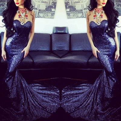 Sexy Sweetheart Sleeveless Mermaid Prom Dress With Sequins_3
