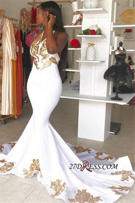 Sexy Halter Sleeveless Mermaid Prom Gown | New Arrival V-Neck Gold Appliques Evening Dress_2