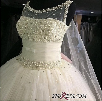 2020 Tulle Sleeveless Beadings Gorgeous Princess Pearls Wedding Dress_2