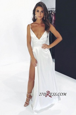 Spaghetti-Straps Floor-Length Side-Split Sheath Elegant Prom Dresses_1