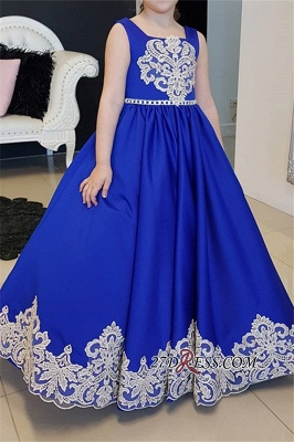 Blue Straps Royal Appliques A-Line Floor-length Flower Girl dresses_3