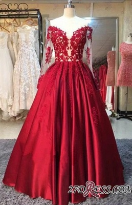 Lace-Appliques Off-the-Shoulder Puffy Red Long-Sleeves Prom Dresses BA5004_1