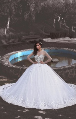 Newest Crystals Tulle Lace Illusion Wedding Dress 2020 Long Sleeve Ball Gown_1