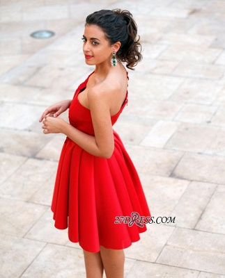 Red Appliques One-Shoulder Short Popular A-Line Homecoming Dress_3