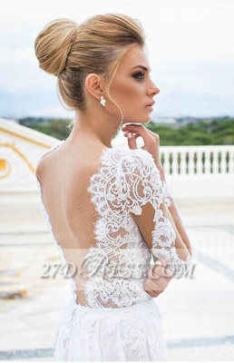 White Lace Sexy Wedding Dresses V-Neck Side Slit Long Sleeve Bridal Gowns_2