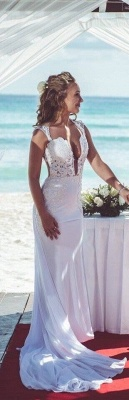 Modern Deep V-neck Mermaid Wedding Dress With Lace Appliques_3
