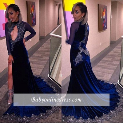 Sexy Halter Sequins Key-Hole Long-Sleeves High-Slit Prom Dress CC0030 BK0_1