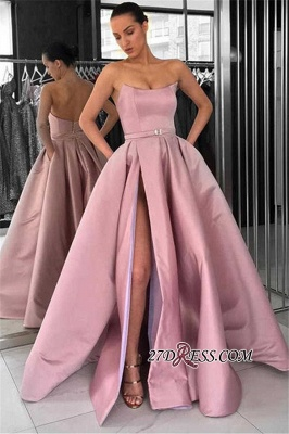 Gorgeous Strapless 2020 Prom Dresses | Pink Long Evening Gowns With Slit_2