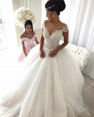Princess tulle wedding dress, 2020 bridal gowns with beads_1