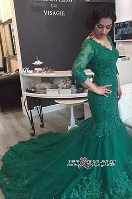 2020 Court-Train Mermaid Newest Tulle Appliques V-Neck Prom Dress BA4275_2