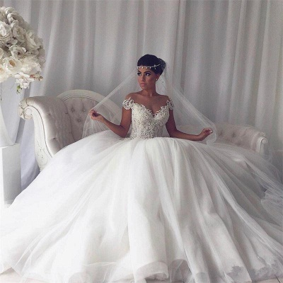 Princess tulle wedding dress, 2020 bridal gowns with beads_3