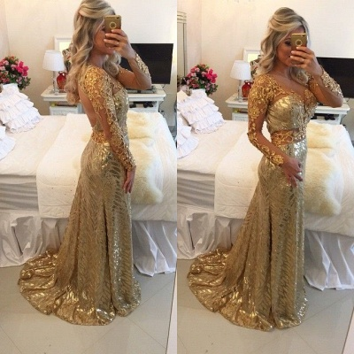 Delicate Gold Sequined Lace Appliques Prom Dress | Mermaid Long Sleeve Evening Gown_2