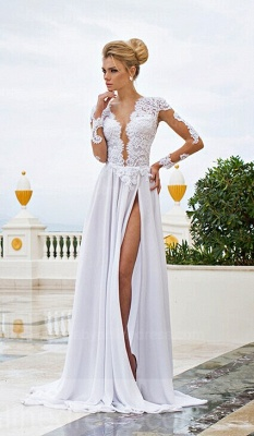 White Lace Sexy Wedding Dresses V-Neck Side Slit Long Sleeve Bridal Gowns_4