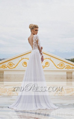 White Lace Sexy Wedding Dresses V-Neck Side Slit Long Sleeve Bridal Gowns_3