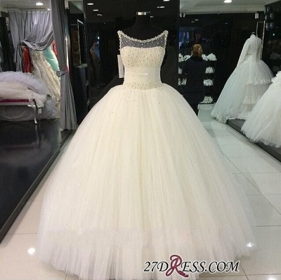 2020 Tulle Sleeveless Beadings Gorgeous Princess Pearls Wedding Dress_1