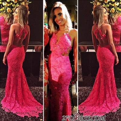 Red Sleeveless Open-Back Sexy Mermaid Lace Prom Dresses BA6677_2