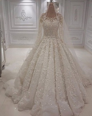 Gorgeous Crew Long Sleeve Lace Wedding Dress | Ball Gown Bridal Gowns With Appliques BC1244_1