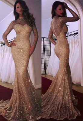 Glamorous Long Sleeve Evening Dress | 2020 Mermaid Prom Dress With Sequins BA9936_2