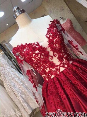 Lace-Appliques Off-the-Shoulder Puffy Red Long-Sleeves Prom Dresses BA5004_2