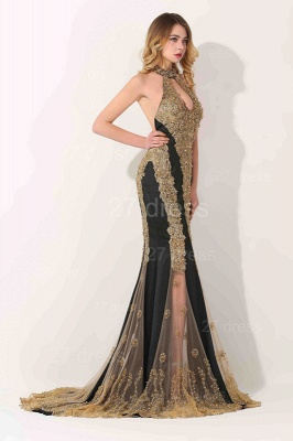Glamorous High-Neck Backless Evening Dress 2020 Mermaid With Appliques Beadings_2