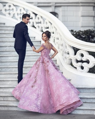 Gorgeous Off-the-Shoulder Beadings Prom Dress | Pink Lace Long Evening Gowns_3