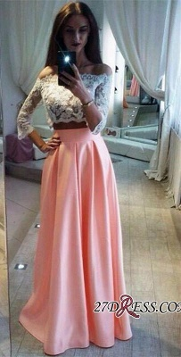 A-Line Pink Lace Elegant Off-the-Shoulder Two-Pieces Prom Dress BC1126_2