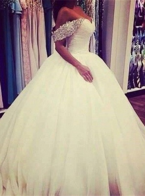 Elegant Tulle Ball Gown Wedding Dress 2020 Off-the-shoulder Crystals BA3316_1