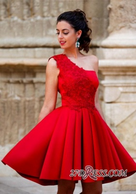 Red Appliques One-Shoulder Short Popular A-Line Homecoming Dress_4