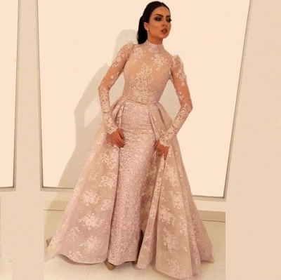 Glamorous Long Sleeve Prom Dresses   2020 Lace Evening Gowns With Ruffles BC1197_2