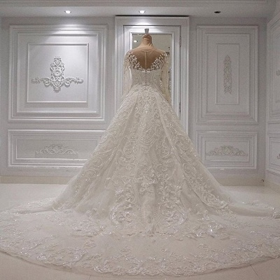 Gorgeous Crew Long Sleeve Lace Wedding Dress | Ball Gown Bridal Gowns With Appliques BC1244_3