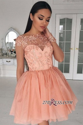 Appliques 2020 Glamorous Short Long-Sleeves A-Line Homecoming Dress_3