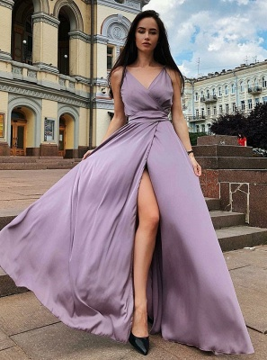 2020 Front Split Spaghetti Strap Long Evening Gown | 2020 V Neck Sleeveless Prom Dress On Sale_3