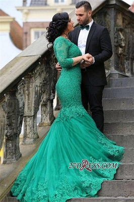 2020 Court-Train Mermaid Newest Tulle Appliques V-Neck Prom Dress BA4275_3