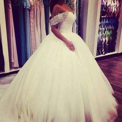 Elegant Tulle Ball Gown Wedding Dress 2020 Off-the-shoulder Crystals BA3316_3