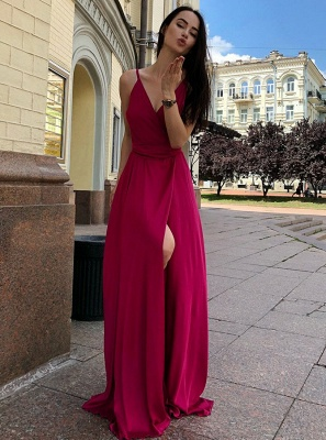 2020 Front Split Spaghetti Strap Long Evening Gown | 2020 V Neck Sleeveless Prom Dress On Sale_2