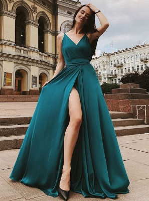 2020 Front Split Spaghetti Strap Long Evening Gown | 2020 V Neck Sleeveless Prom Dress On Sale_4