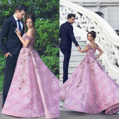 Gorgeous Off-the-Shoulder Beadings Prom Dress | Pink Lace Long Evening Gowns_5