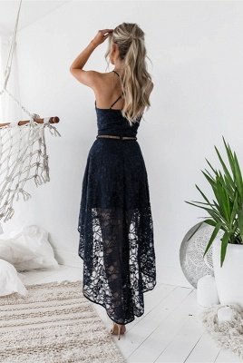 Halter Sleeveless Short Homecoming Dress   2020 Lace Party Gowns_5