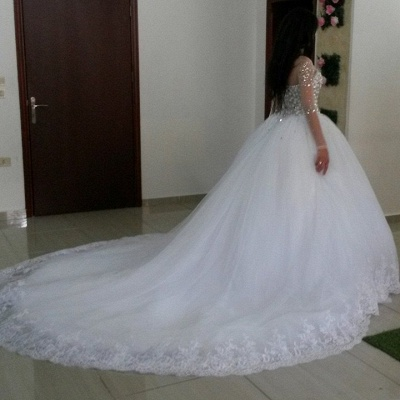 Newest Crystals Tulle Lace Illusion Wedding Dress 2020 Long Sleeve Ball Gown_2